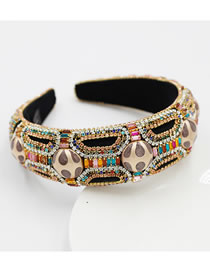 Fashion Round Diamond-studded Geometric Sponge Broad-brimmed Headband