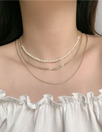 Fashion Gold Color Pearl Alloy Multilayer Necklace