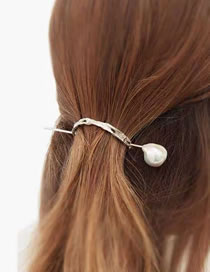 Fashion Silver Color Color(about 11 Cm In Diameter) Alloy Curved Artificial Pearl Hairpin