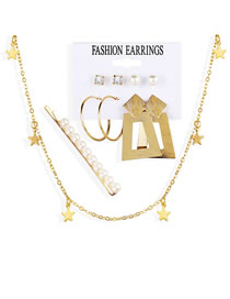 Fashion Golden Pearl And Diamond Geometric Earrings Necklace Hairpin Set