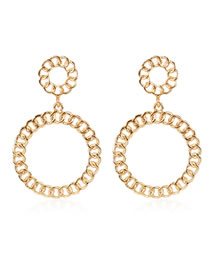 Fashion Golden Alloy Plating Geometric Chain Round Earrings