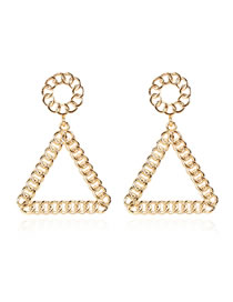 Fashion Golden Alloy Triangle Hollow Chain Earrings