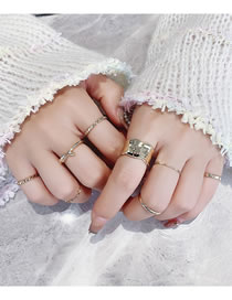 Fashion Golden Twisted And Knotted Geometric Alloy Ring Set