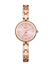 Fashion Rose Gold Noodles Small Dial Thin Strap Water Diamond British Bracelet Watch