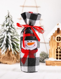 Fashion Plaid Snowman Wine Bag Christmas Embroidered Plaid Clothes Old Man Snowman Wine Bottle Cover
