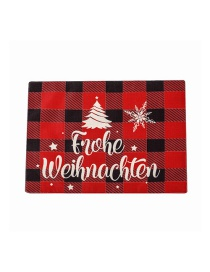 Fashion Christmas Tree Placemat Christmas Tree Cartoon Snowman Garland Printing Plaid Table Runner Placemat