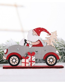 Fashion Gray Car Ornaments Old Man Gift Package Small Tree Driving Christmas Wooden Ornaments