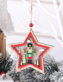 Fashion Five-pointed Star (with Electronics) Wooden Walnut Soldier With Light Car Five-pointed Star House Pendant