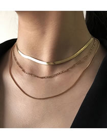 Fashion Golden Snake Bone Chain Alloy Thin Chain Multilayer Necklace