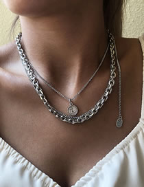 Fashion White K Round Letter Pendant Alloy Multilayer Necklace