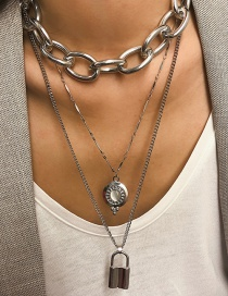 Fashion Lock Silver Pearl Lock Shaped Love Heart Geometric Shaped Alloy Multilayer Necklace