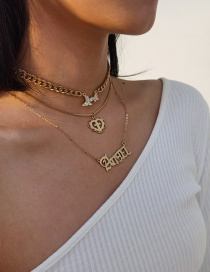 Fashion Golden Letter Love Butterfly Diamond Alloy Multilayer Necklace