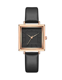 Fashion Black Square Pu Belt Quartz Watch