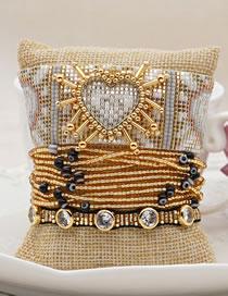 Fashion Suit Gold Handmade Beaded Rice Beads Woven Geometric Love Eye Bracelet