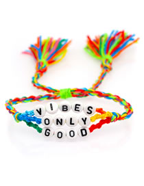 Fashion Color Mixing Hand-woven Rope Letter Beaded Tassel Bracelet