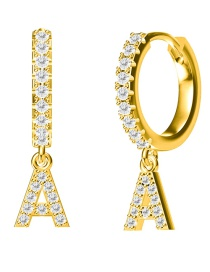 Fashion A-gold Copper Inlaid Zircon Letter Round Earrings