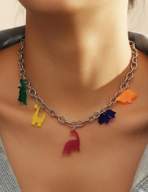 Fashion Color Mixing Resin Dinosaur Hit Color Alloy Necklace