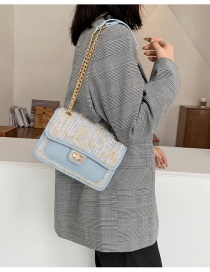 Fashion Blue Coarse Woolen Knitted Chain One-shoulder Diagonal Bag