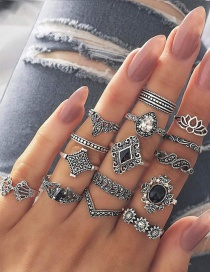 Fashion Silver Lotus Sunflower Geometric Alloy Ring Set