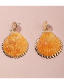 Fashion Yellow Shell Alloy Round Earrings