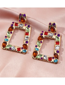 Fashion Color Geometric Trapezoid Hollow Earrings With Colored Diamonds
