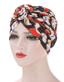 Fashion Black+red Geometric Turban Hat With Spiral Snail Print