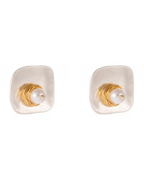 Fashion White Natural Freshwater Pearl Sand Silver Square Alloy Earrings