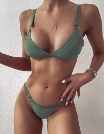 Fashion Green Solid Color Triangle Metal Circle Low-rise Split Swimsuit