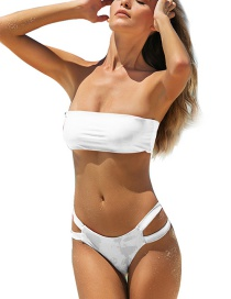 Fashion White Tube Top Solid Color Hollow High Waist Split Swimsuit