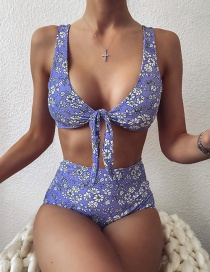 Fashion Purple Knotted Chest High Waist Printed Split Swimsuit