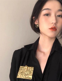 Fashion Golden Folded Brand Alloy Square Brooch