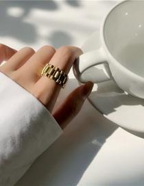 Fashion Golden Titanium Steel Chain Alloy Ring