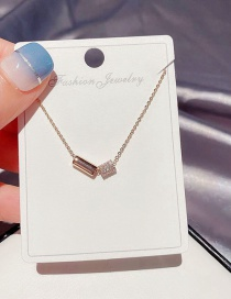 Fashion Rose Gold Plated Transfer Bead Copper Inlaid Zircon Necklace
