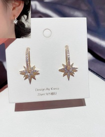 Fashion 14k Real Gold Plated Eight-pointed Star Copper Inlaid Zircon Round Earrings