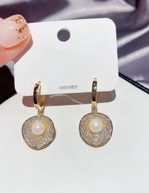 Fashion Real Gold Plated Real Gold Plated Round Earrings With Pearls And Full Diamonds