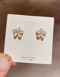 Fashion Real Gold Plated Opal Flower Earrings In Real Gold