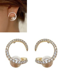 Fashion 14k Real Gold Plated C-shaped Pearl Copper And Zircon Earrings