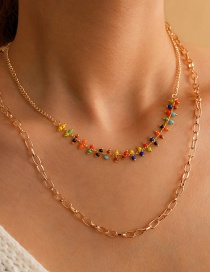 Fashion Golden Rice Beads Beaded Alloy Hollow Multilayer Necklace