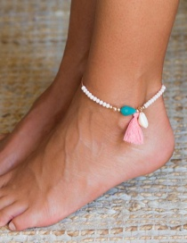 Fashion White Adjustable Beaded Rice Beads Natural Shell Tassel Pendant Anklet