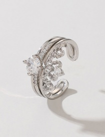 Fashion Silver Crown Double Diamond Opening Adjustable Ring