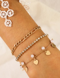 Fashion Golden Water Wave Chain Sequined Pearl Love Bracelet Set