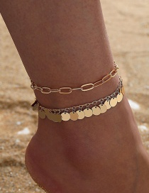 Fashion Golden Thick Chain Tassel Water Drop Disc Multilayer Anklet