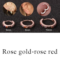 Fashion Rose Gold-rose Red 6mm Micro-inlaid Zircon Round Copper Gold-plated Cartilage Earrings