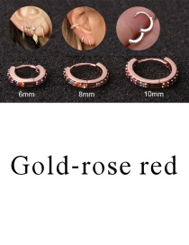 Fashion Gold-rose Red 8mm Micro-inlaid Zircon Round Copper Gold-plated Cartilage Earrings