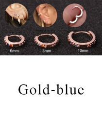 Fashion Gold-blue 8mm Micro-inlaid Zircon Round Copper Gold-plated Cartilage Earrings