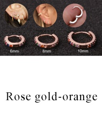 Fashion Rose Gold-orange 8mm Micro-inlaid Zircon Round Copper Gold-plated Cartilage Earrings
