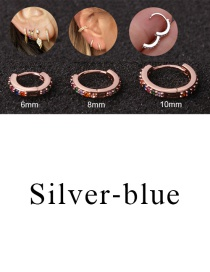 Fashion Silver-blue 10mm Micro-inlaid Zircon Round Copper Gold-plated Cartilage Earrings