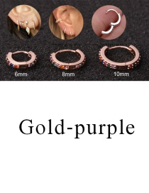 Fashion Gold-purple 10mm Micro-inlaid Zircon Round Copper Gold-plated Cartilage Earrings