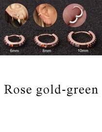 Fashion Rose Gold-green 10mm Micro-inlaid Zircon Round Copper Gold-plated Cartilage Earrings