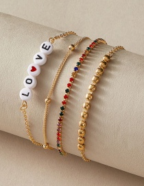 Fashion Gold Color Coloren Multilayer Beaded Bracelet With Diamond Letters